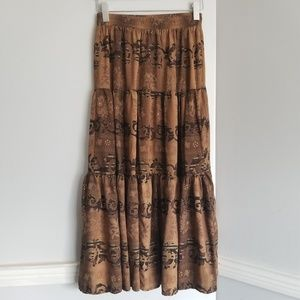 Maxi floral brown flowy long Roper skirt boho